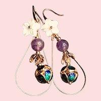 Cloisonne Amethyst Shell Flower 14k Gold Plated Dangle Drop Earrings