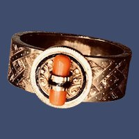 Art Deco Gold and Coral Cravat Oblique Scarf Ring