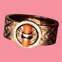 Art Deco Gold and Coral Cravat Oblique Scarf Ring