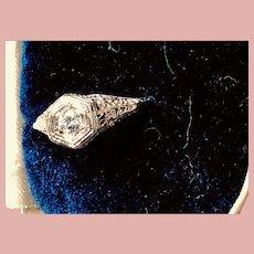 Art Deco 14 Kt White Gold and Diamond Filigree Ring