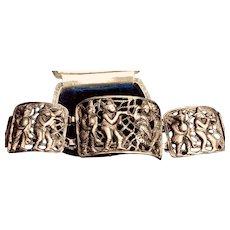 Ethnic Solid Sterling Silver Bucolic Link Bracelet
