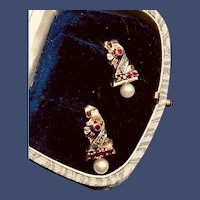 Glamorous 14k Yellow Gold Natural Ruby, Diamond and Pearl Post Earrings - 1940s