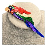 Lea Stein Signed Polly Parrot Brooch