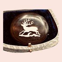Unique Bakelite and Bone Reindeer Brooch