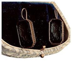 Designer Signed Intaglio Carved Amber Glass Earrings