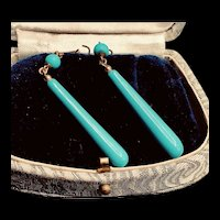 Vintage Vermeil Faux Turquoise Long Earrings