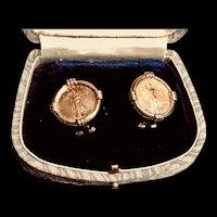 Pair of 2000 22K Walking Liberty Gold Coin in 14K Setting Earrings