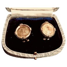 Pair of 2000 22K Walking Liberty Gold Coin in 14K Setting Earrings