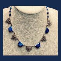 Art Deco Czech Blue and White Czech Glass Necklace - 1930s
