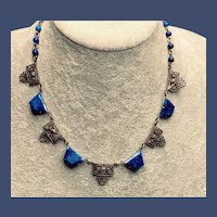 Art Deco Czech Blue and White Czech Glass Necklace - 1930s