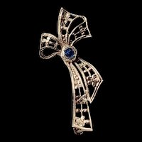 Art Deco Petite Gorgeous Blue and Rhodium Plated Bow Brooch