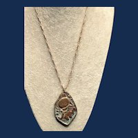 Bronze Medallion Pendant Necklace Greek Centurion with Pegasus on Back