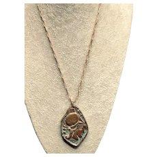 Bronze Medallion Pendant Necklace Greek Centurion with Pegasus on Back