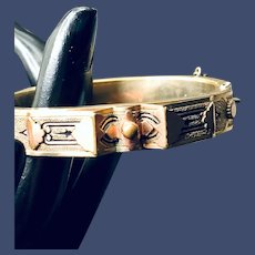 Victorian Pinchbeck Taille d'Epargne Hinged Bangle