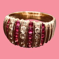 Vintage 14K Yellow Gold Ruby and Diamond Band Ring