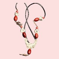 South American Metal & Ceramic Bead Braided Leather Necklace