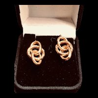 Antique French Napoleon III Love Knot Victorian Earrings in 18k Gold