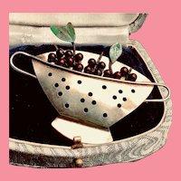 Signed Chickenscratch Cherry Bowl Brooch