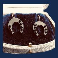 Vintage Bakelite Black Horseshoe Pierced Earrings