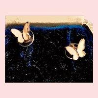 Butterfly Stud 14k Gold Plated Sterling Earrings