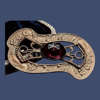 Victorian Gilt Amethyst Glass Sash Brooch
