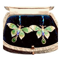 Cloisonne Jade Butterfly 14K Gold and Silver Vermeil Earrings
