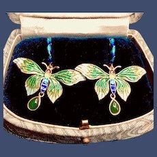 Cloisonne Jade Butterfly 14K Gold and Silver Vermeil Earrings