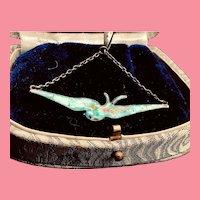 Art Nouveau 1910s Silver 925 Charles Horner Swallow Enamel Pendant Necklace