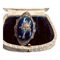 Spectacular Art Deco German Sterling Marcasite and Lapis Glass Brooch