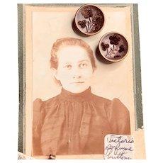 Victorian Perfume Button Pierced Earrings