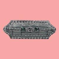 ESTATE: Art Deco Filigree Rhodium Plated Paste Brooch
