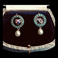 Antique Brass Persian Turquoise Enamel Dots Floral Enamel Earrings