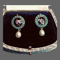 Antique Brass Persian Turquoise Enamel Dots Floral Enamel Earrings