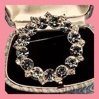 Fabulous Crystal Clear Circle Brooch