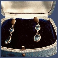 18K Yellow Gold Faceted Aquamarine Earrings - Sparkle