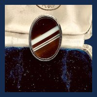 Large Banded Agate and Sterling Ring - Sz 8 1/2 US