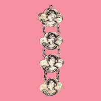 Sterling Silver Art Nouveau Watch Fob with Ladies Head Plaques