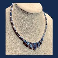 Vintage 950 Sterling Bezel-set Sodalite Necklace