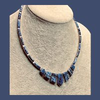 Vintage 950 Sterling Bezel-set Sodalite Necklace