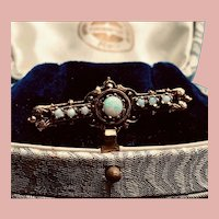 Opal Retro 14K Yellow Gold and Opal Brooch