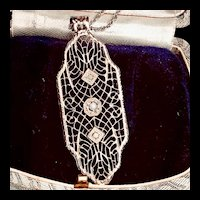 Antique 10K White Gold Filigree Necklace with Diamond Pendant Necklace
