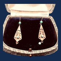 Victorian Era Turquoise Earrings