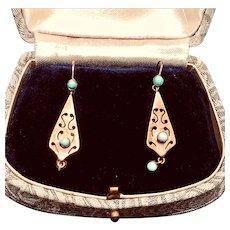 Victorian Era Turquoise Earrings