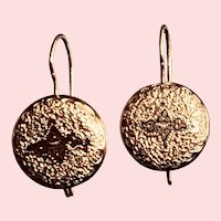 Victorian Earrings 14K Gold Taille d' Epergne Black Enamel