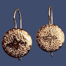 Victorian Earrings 14K Gold Taille d' Epergne Black Enamel