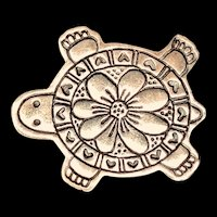 Detailed Sterling Silver Turtle Brooch
