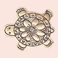 Detailed Sterling Silver Turtle Brooch