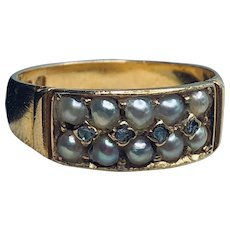 Antique Victorian Pearl and Diamond 18K Gold Ring from 1881