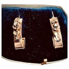 Edwardian 12K Yellow Gold Hoop Earrings