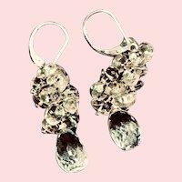 Aquamarine & Quartz 925 Sterling Silver Lever Back Earrings